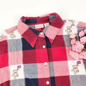 Vintage Fashion Bug Teddy Bear Button Up
